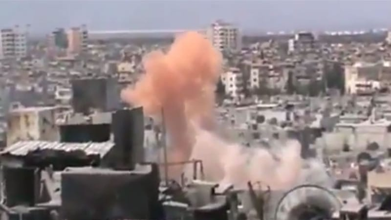 Syrian activists posted video on YouTube that allegedly shows chemical weapons being used on civilian areas in Homs