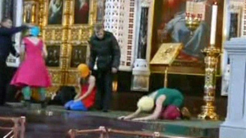 Three Pussy Riot members were sentenced in August to two years in prison for performing the 'punk prayer' [Reuters]
