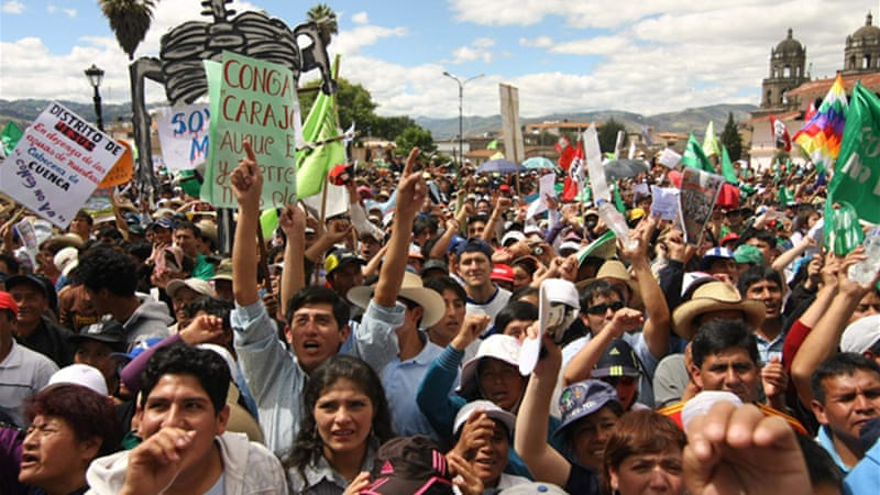 According to a poll, 78 per cent of the people in the Cajamarca region oppose Newmont's Minas Conga project [EPA]