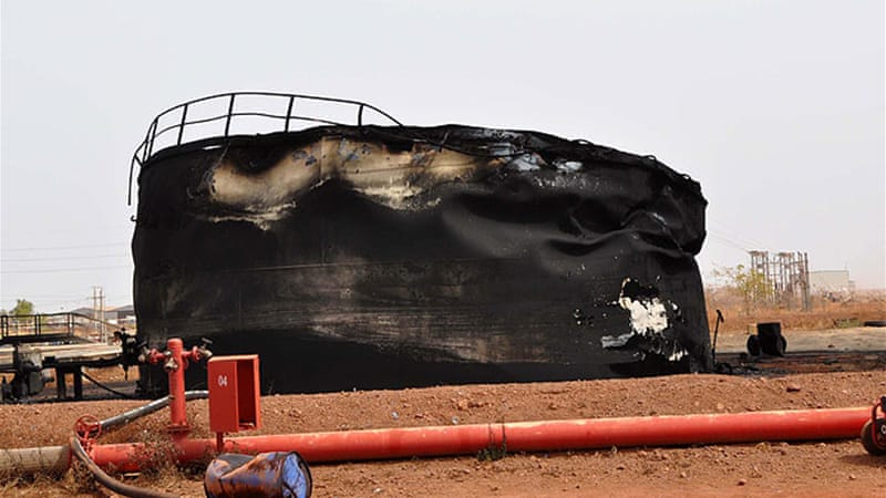 Skirmishes this year damaged oil facilities, such as this storage tank in Heglig, Sudan [EPA]