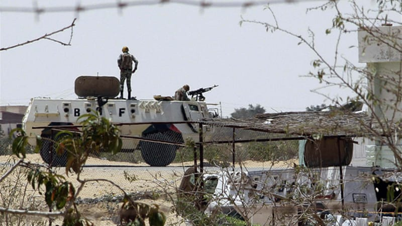 A security source earlier said armed men had opened fire on peacekeeping troops in Sinai [Reuters]