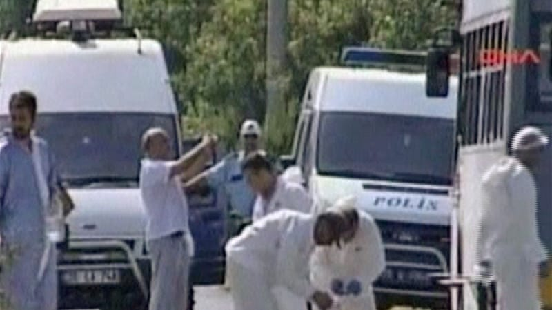 Video footage by Turkey's Dogan news agency showed investigators at the scene of the attack