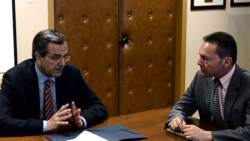 Prime Minister Antonis Samaras, left, faces tough challenges as unemployment soars with more austerity ahead [AFP]