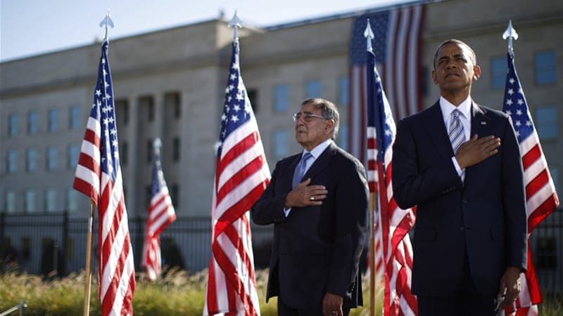 Barack Obama and Leon Panetta, US defence secretary, attended Tuesday's ceremony at the Pentagon [Reuters]
