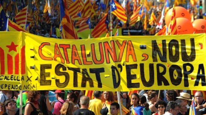Supporters of independence for Catalonia demonstrated in Barcelona to mark the region's official day [AFP]