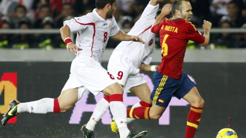 The win was Spain's 23rd consecutive victory in qualifying, but they had to wait 86 minutes before breaking down the Georgia defence [Reuters]
