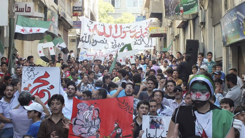 Demonstrations reported in different neighbourhoods of Damascus, Idlib, Daraa, and Hama [Reuters]