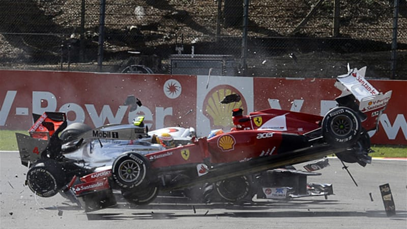 The crash, which was triggered by Lotus driver Romain Grosjean, forced out the championship leader Fernando Alonson and Button's McLaren teammate Hamilton [Reuters]