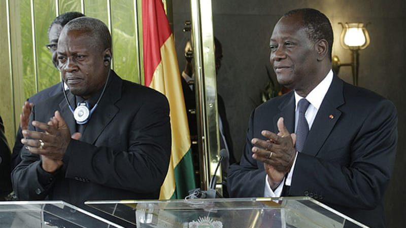 Ghana's President John Dramani Mahama, left, said his country would not be used as a base for rebel operations [Reuters]