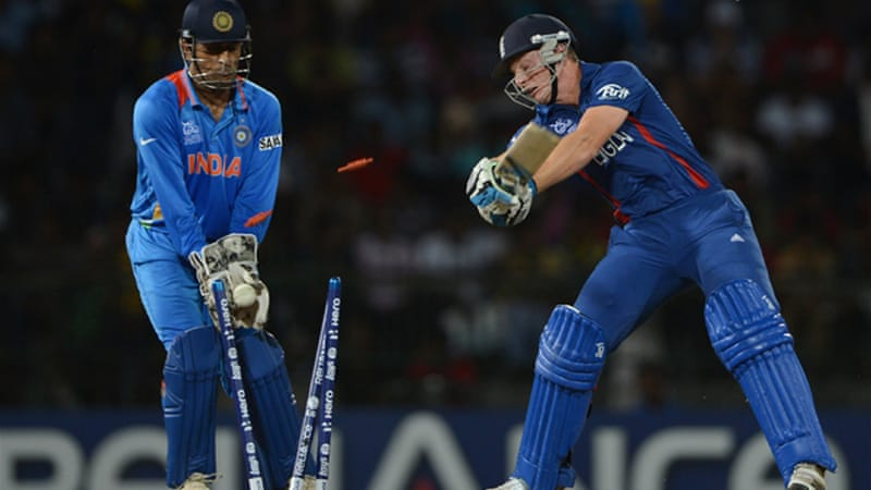 Defending champions England are through despite being thrashed by India, who also make Super Eights [GETTY]