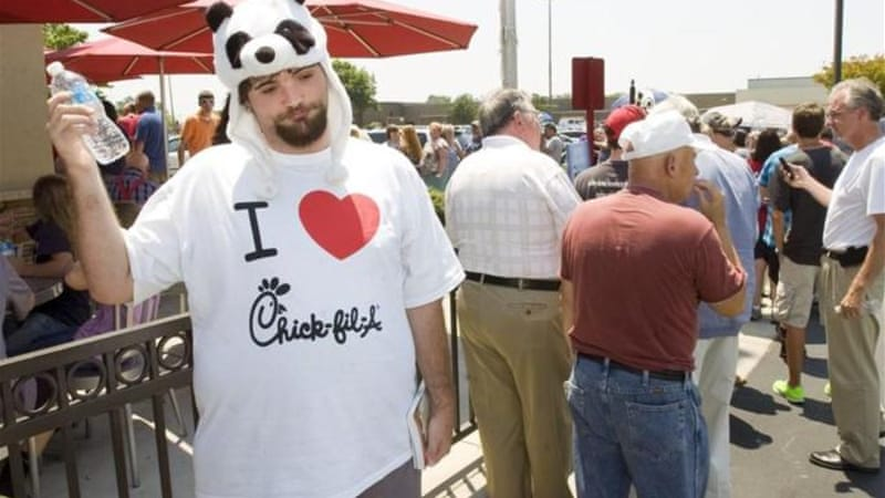 Supporters of Chick-fil-A's stance on gay marriage flocked to their support after the chain was condemned [AP]