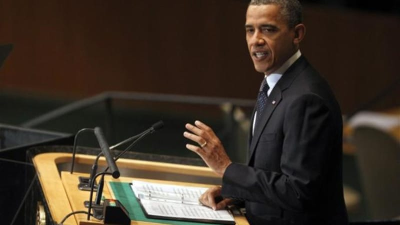 "President Obama told the UN General Assembly that Bashar al-Assad's regime ""must come to an end"" [AP]"