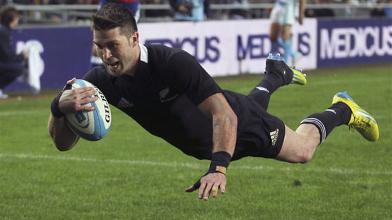 Winger Cory James scored three of New Zealand's seven tries as the world champions put on a dominant display in Argentina [Reuters]