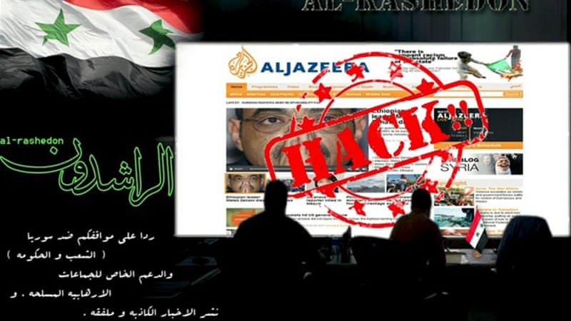 "Visitors were redirected to a page that said ""Al Jazeera hacked"" during the cyber attack"