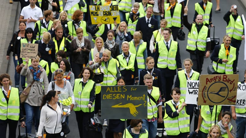 A 24-hour walkout on Friday could lead to 1,200 flights being grounded across several German airports [Reuters]