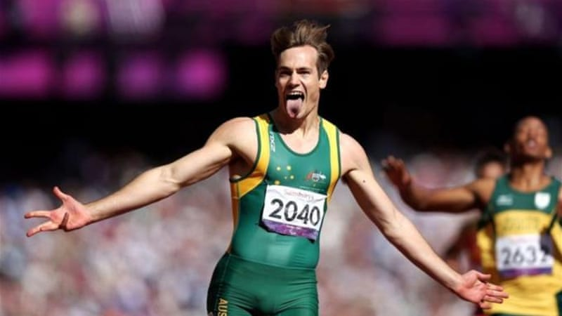 O'Hanlon celebrates gold and a new world record in the Men's 200m T38 Final at the London Paralympics [GETTY]
