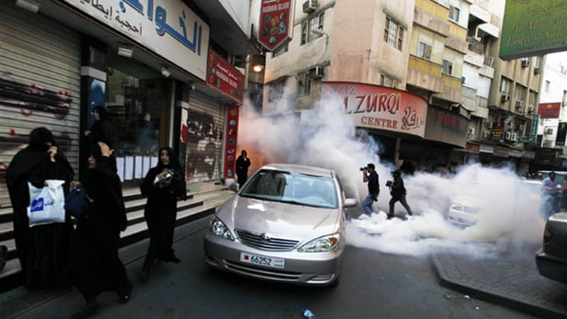 Armoured security forces vehicles and riot police blocked off some of Manama's main roads on Friday [Reuters]