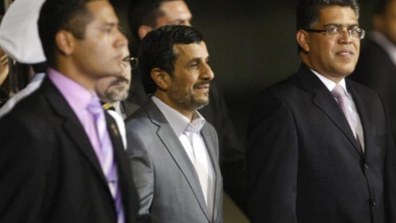 Venezuela's Vice-President Elias Jaua (right) ignored US warnings to avoid close ties with Iran's Ahmadinejad [Reuters]
