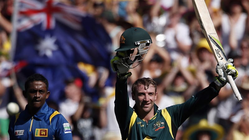 Hughes became the first Australian to score a century in his limited-overs international debut, reaching 112 [Reuters]