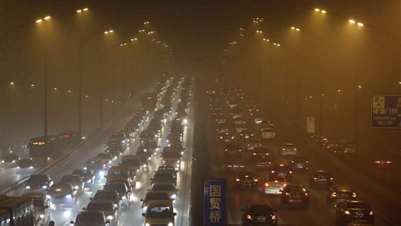 Air quality in Beijing showed airborne particles small enough to penetrate the lungs [Reuters]