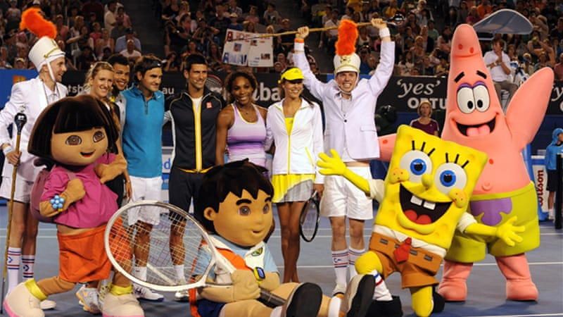 Can Sponge Bob take his first Australian title this year? The contenders enjoy kids day at the Rod Laver Arena ahead of Monday's Australian Open [Reuters]