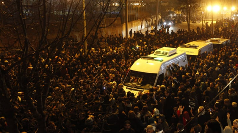 Thousands of mourners accompanied ambulances carrying the bodies in Diyarbakir [Reuters]