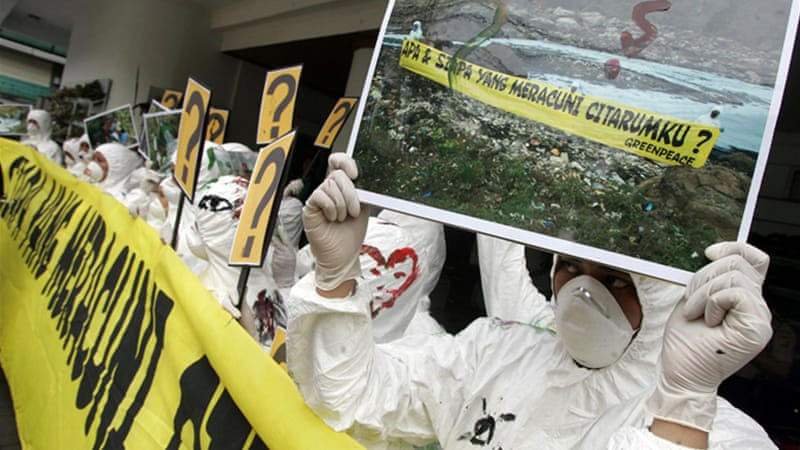 Greenpeace staged protests over the pollution of Indonesia's Citarum River with mercury and lead [File/EPA]