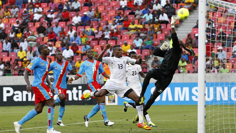 DR Congo had looked the better of the two sides in the first half, but were undone when Ghana took the lead [Reuters]