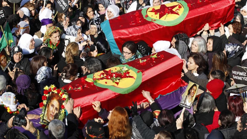 They activists' bodies were transported back to Turkey, where they were buried on Thursday [Reuters]