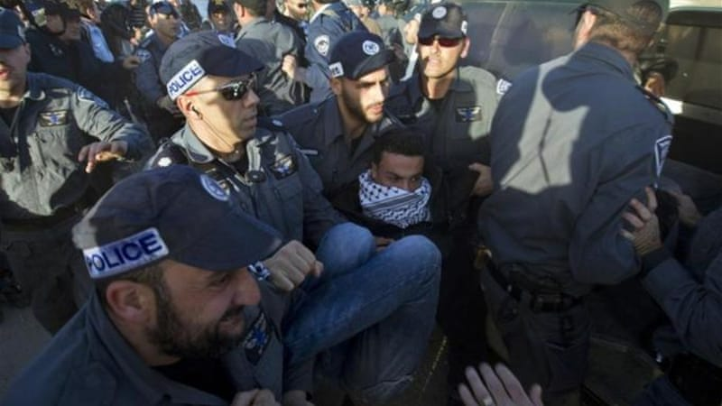 Israeli border police arrested Palestinian protesters at the Bab al-Shams 'outpost' east of Jerusalem last week [AFP]
