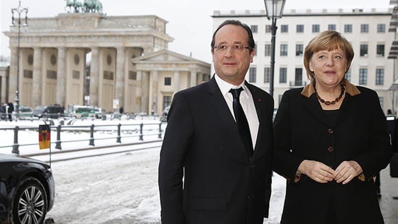 Hollande and Merkel met in the German capital to mark the anniversary of the Elysee Treaty [Reuters]