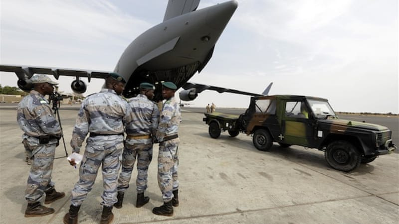 French and African troops on the ground in Mali are receiving logistical support from the EU, US and Canada [Reuters]