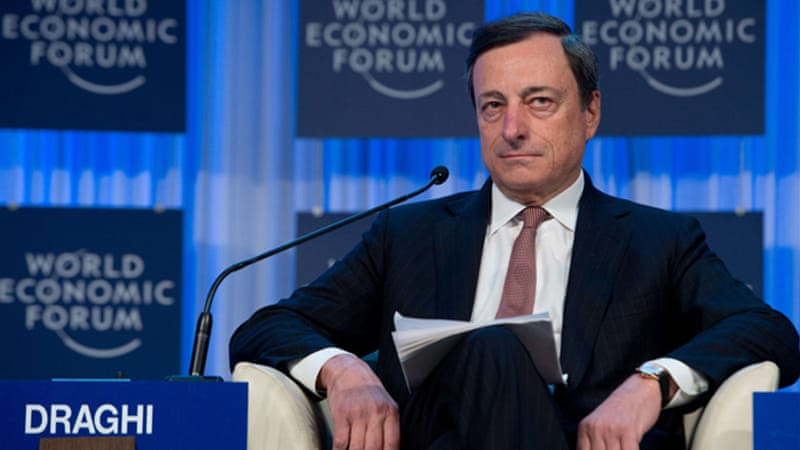 "Mario Draghi forecast that the euro area economy would ""stabilise"" at a ""very low level of activity"" this year [AFP]"