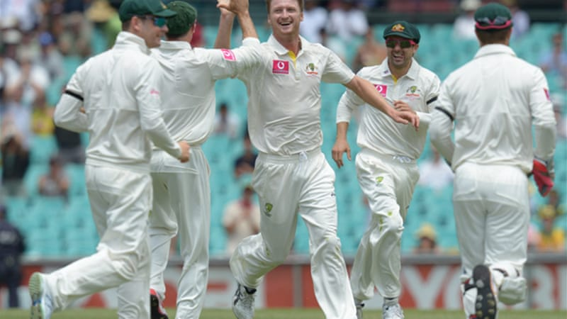 The Aussies struck with six wickets in the final session, with Jackson Bird, above, finishing with 4-41 [EPA]