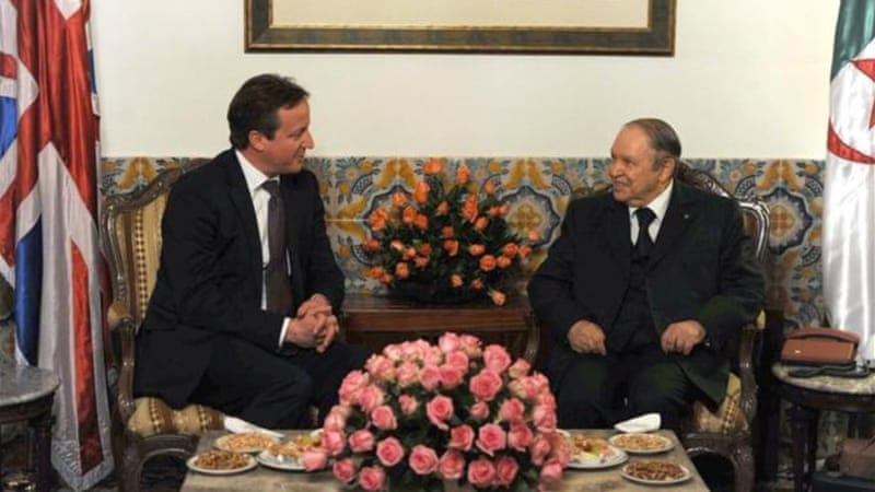 President Abdelaziz Bouteflika, right, called the visit a chance 'to renew political dialogue' with Britain [AFP]