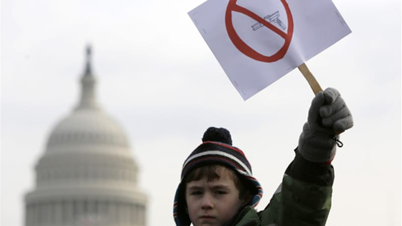 The proposal comes one week before the US Senate is set to debate new gun legislation [Reuters]