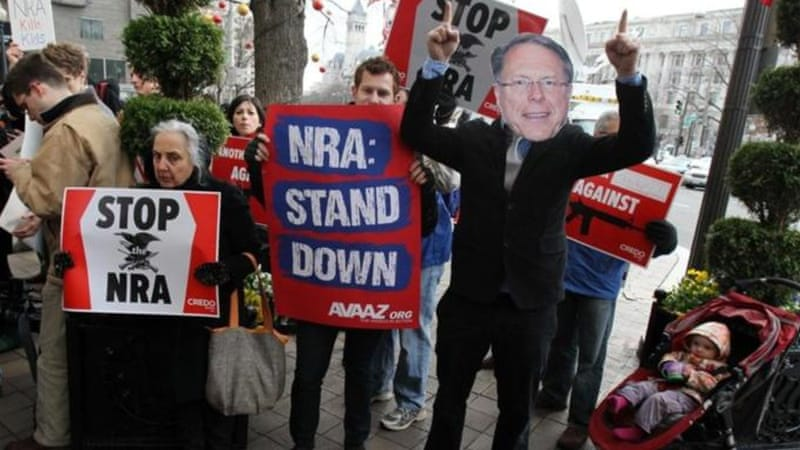 "After the 1999 massacre at Columbine High School, the LaPierre/NRA solution included ""closing the private-sale loophole... And more gun-free school zones!"" [AP]"