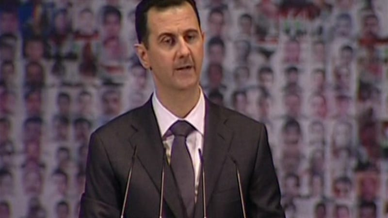 President Bashar al-Assad held his last public address on June 20 last year in Damascus [Reuters]