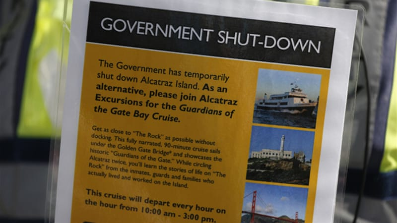 The shutdown has closed national parks and other tourist attractions like Alcatraz [Reuters]