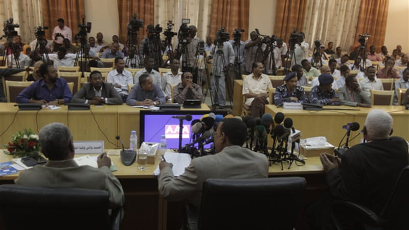 Sudan's interior minister told journalists that most pictures of protest crackdown was from Egypt [AFP]