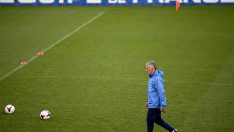 National coach Didier Deschamps on the pitch where he suffered his worst defeat as a player for France [AFP]