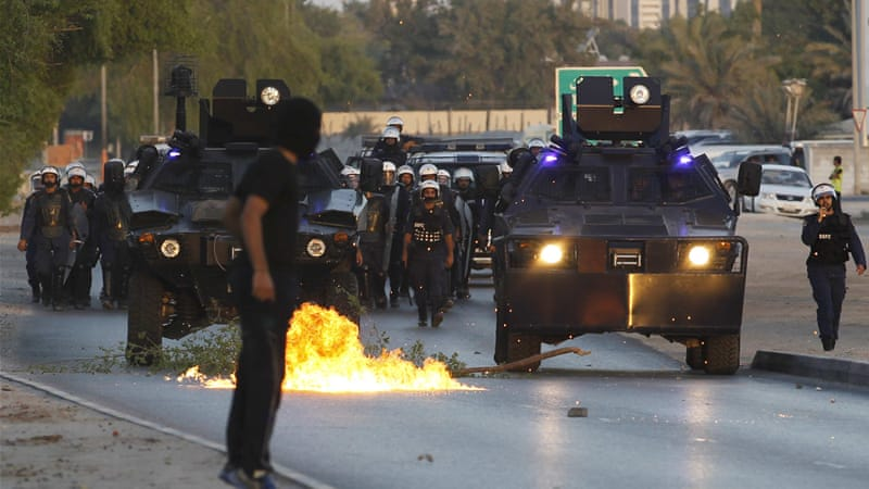 Bahrain anti-riot police and protesters frequently clash with each other after protests [REUTERS]