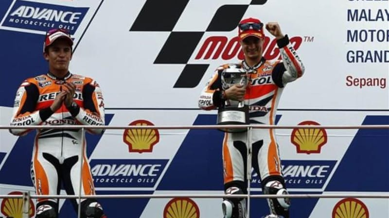 Marquez was happy to take second behind Pedrosa after a tussle with title rival Jorge Lorenzo [Reuters]