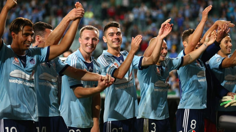 Sydney celebrate after defeating Newcastle Jets 2-0 on Friday's first free to air match [GALLO/GETTY]