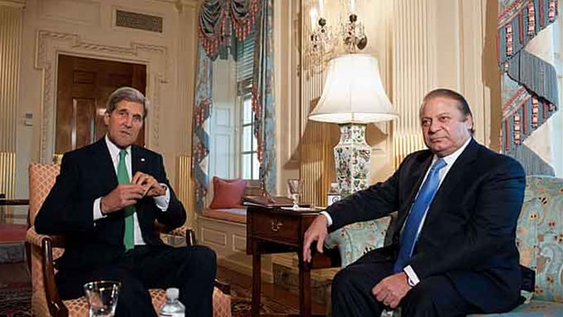 The Sharif-Kerry meeting came as State Department asked Congress to release $300m in security aid [AFP]