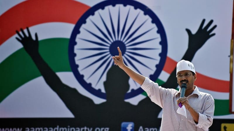 The AAP Facebook page has a million 'likes' and @ArvindKejriwal has a million followers on Twitter [AFP]