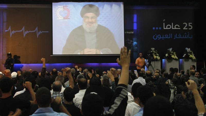 Nasrallah's speech was shown on large screen in the Hezbollah-controlled southern suburbs of Beirut [Reuters]