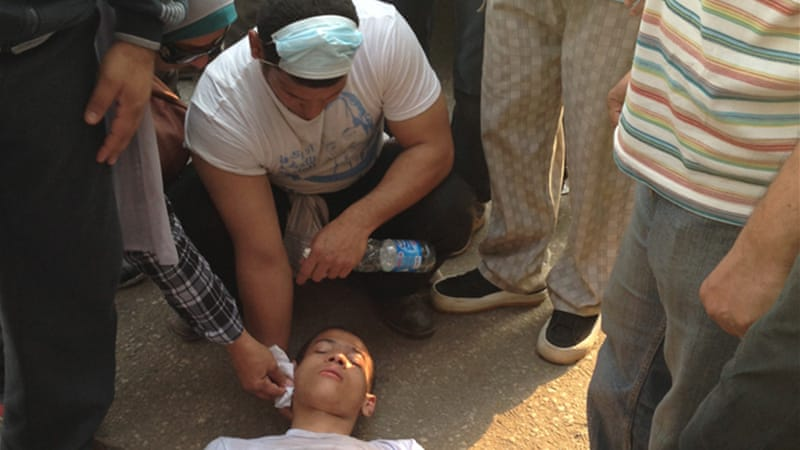 Mohamed Sayed, 19, collapsed after inhaling tear gas during Sunday's violence in Cairo [Al Jazeera]