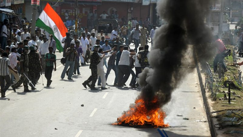 "Widespread protests under the banner of ""united Andhra Pradesh"" have embroiled the region in chaos [AFP]"