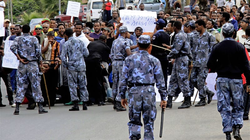 Police this week broke up a protest outside the Saudi embassy in Addis Ababa [AFP]